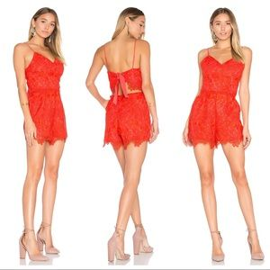 LOVERS + FRIENDS SONGBIRD Red Lace V-Neck Romper